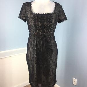 WORTH Black Lace Sheath dress Cocktail Formal 8 p